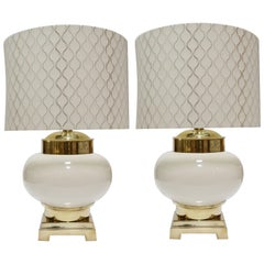 Pair of Midcentury Lamps in Ivory Ceramic and Brass