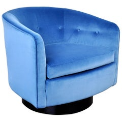 Milo Baughman for Thayer Coggin Light Blue Velvet Swivel Lounge Chair
