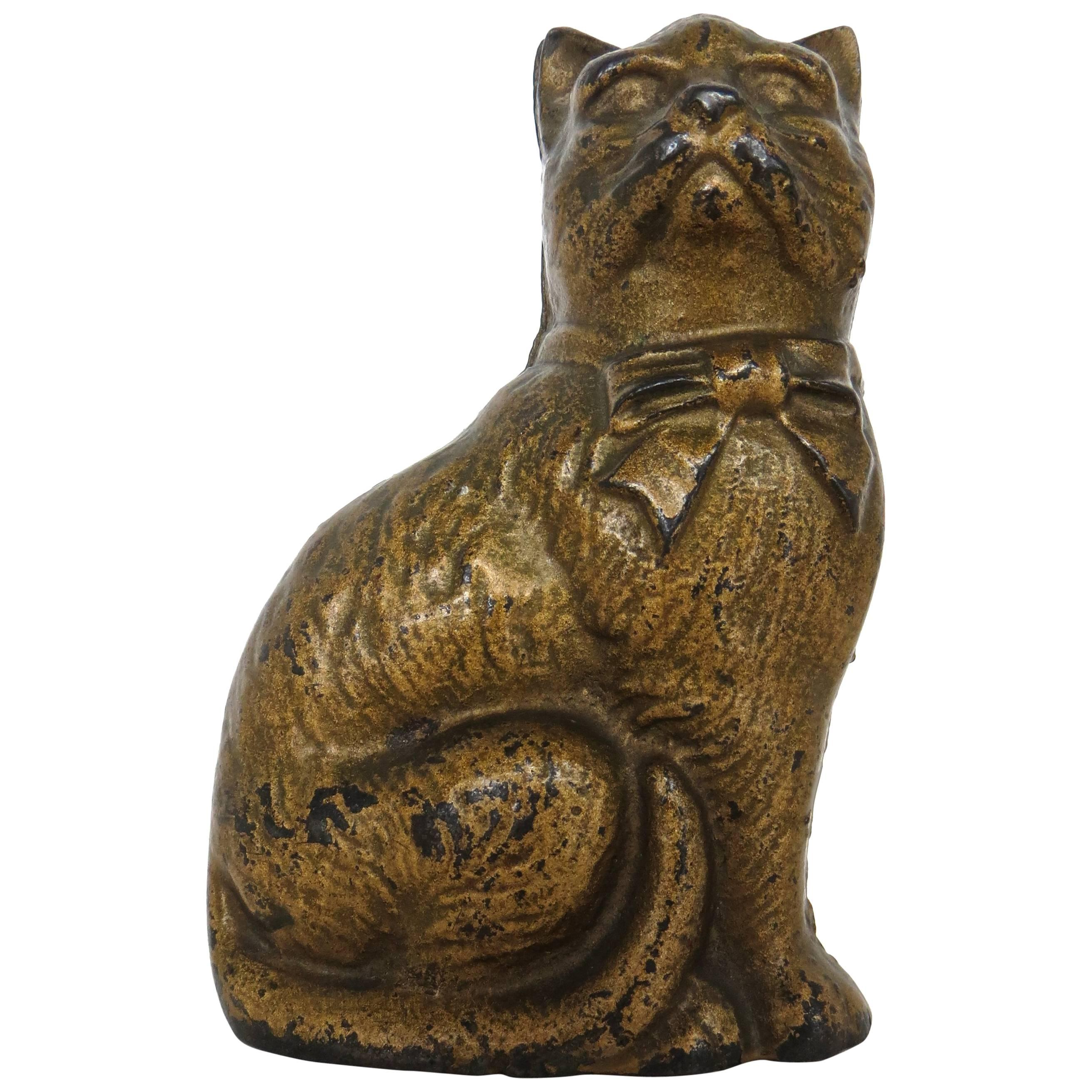 """Seated """"Cat with a Bow"""" Still Bank, American, circa 1922"""