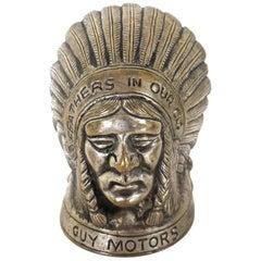 Indian Chief Hood Ornament Guy Motors. British, circa 1920s