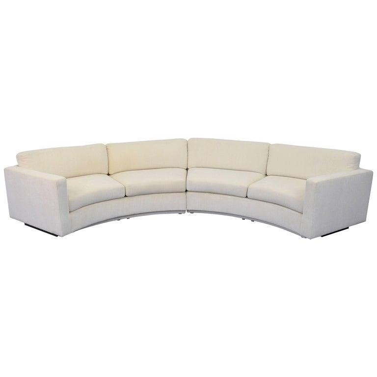 Milo Baughman for Thayer Coggin White Sectional Circle Sofa