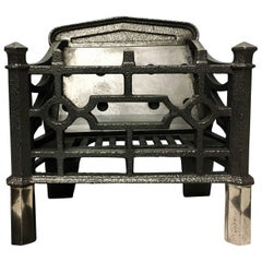 Antique 19th Century Cast Iron Gothic Manner Fire Basket Grate