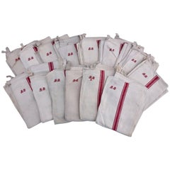 "14 French Antique Linen Kitchen Towels Red Stripe, Embroidered ""BB"" Initials"