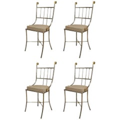 Set of 4 Outdoor English Regency Brass Side Chairs