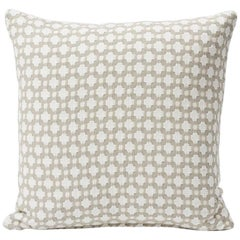 "Schumacher Betwixt Geometric Textural Woven White Two-Sided 18"" Cotton Pillow"