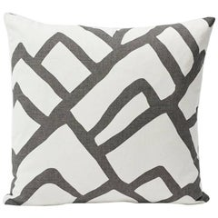 "Schumacher Zimba Large-Scale Graphic Print Charcoal White Two-Sided 18"" Pillow"
