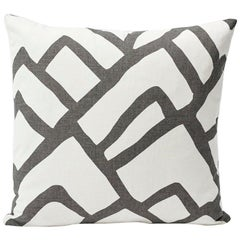 Schumacher Zimba Large Scale Graphic Print Charcoal White Two-Sided Pillow