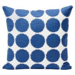 "Schumacher Fuzz Large-Scale Graphic Navy Two-Sided 18"" Linen Cotton Pillow"