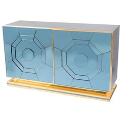 Brass and Blue Glass Cabinet Featuring Geometric Designs, Italy, 1970s