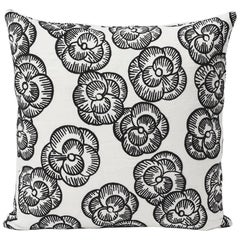 "Schumacher Vogue Living Mona Floral Embroidered Blackwork Two-Sided 18"" Pillow"