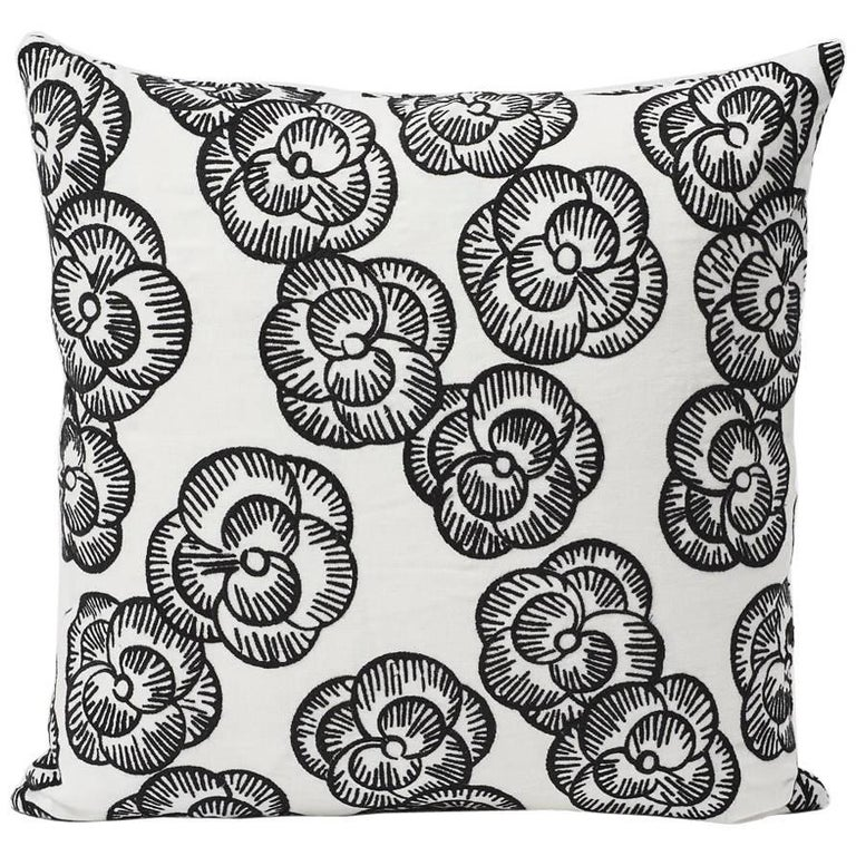 "Schumacher Vogue Living Mona Floral Embroidered Blackwork Two-Sided 18"" Pillow For Sale"