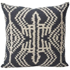 "Schumacher Asaka Ikat Contemporary Print Charcoal Two-Sided 18"" Linen Pillow"