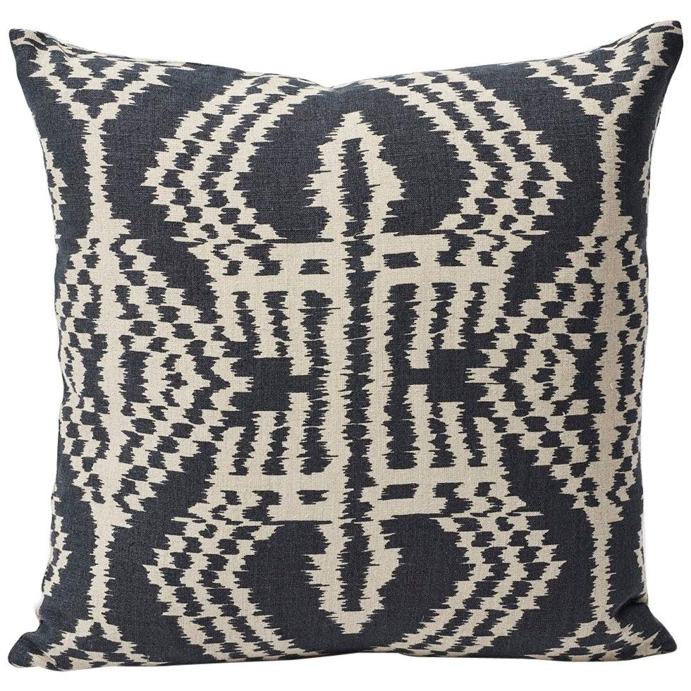 Schumacher Asaka Ikat Contemporary Print Charcoal Two-Sided Linen Pillow