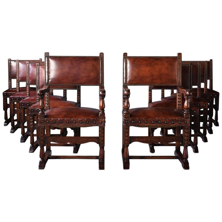 Set of Ten French Spanish Style Leather Dining Chairs
