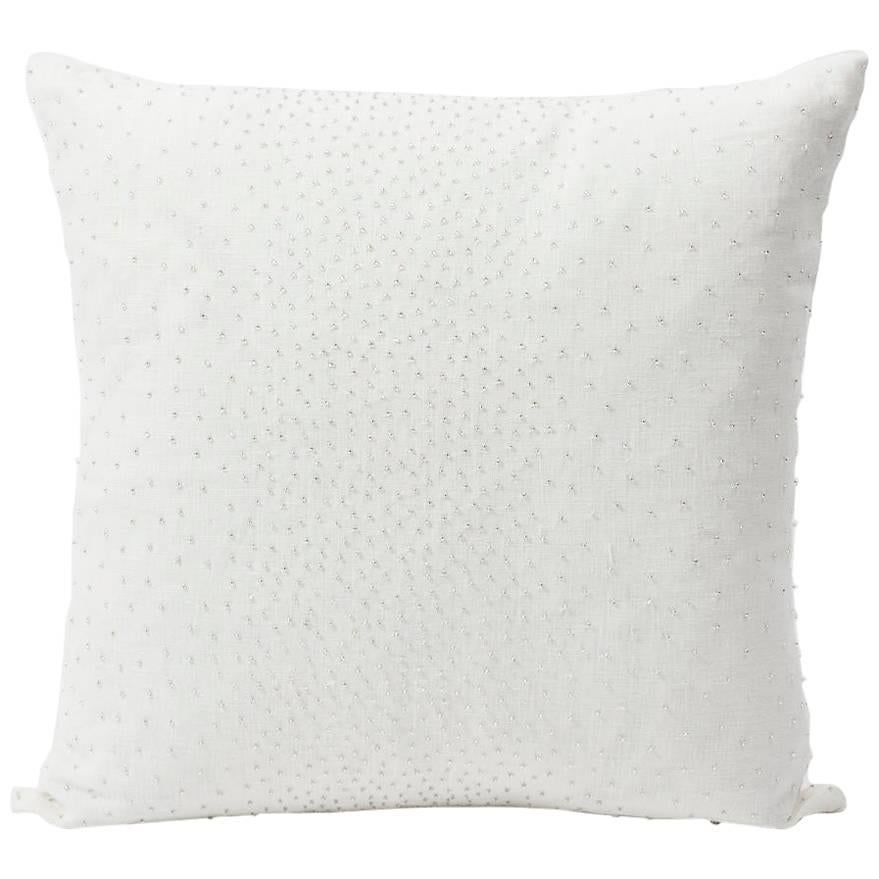 """Schumacher Northern Lights Bead-Embellished White Two-Sided 18"""" Linen Pillow"""