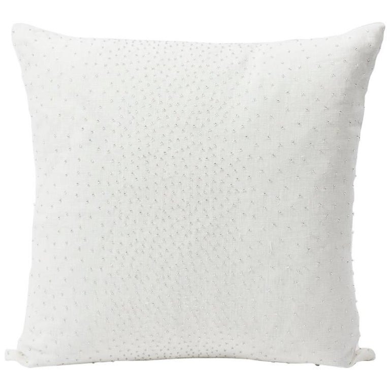 "Schumacher Northern Lights Bead-Embellished White Two-Sided 18"" Linen Pillow For Sale"