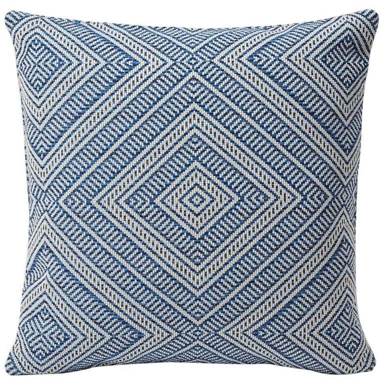 """Schumacher Tortola Diamond Woven Indoor/Outdoor Two-Sided 18"""" Pillow For Sale"""
