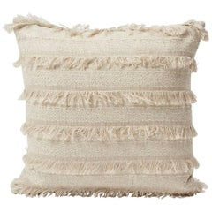 "Schumacher Acadia Woven Silky Fringe Striped Greige Two-Sided 18"" Pillow"