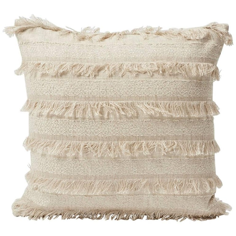 "Schumacher Acadia Woven Silky Fringe Striped Greige Two-Sided 18"" Pillow For Sale"