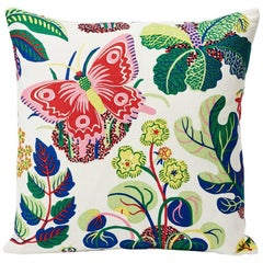 "Schumacher Josef Frank Exotic Butterfly Spring Color Two-Sided 18"" Linen Pillow"