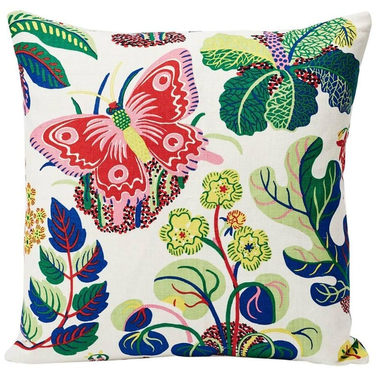 """Schumacher Josef Frank Exotic Butterfly Spring Color Two-Sided 18"""" Linen Pillow"""
