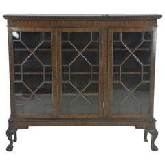 Antique Bookcase, Mahogany Cabinet with Ball and Claw Feet