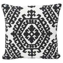 "Schumacher Omar All-Over Embroidery Medallion Black Two-Sided 18"" Pillow"