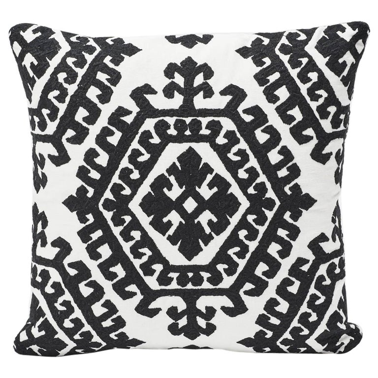"""Schumacher Omar All-Over Embroidery Medallion Black Two-Sided 18"""" Pillow  For Sale"""