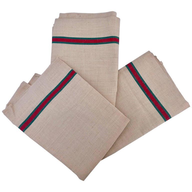 French Antique Linen Kitchen Towels 'Set of Three', with Red and Green Stripes