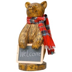 Hand-Carved Wooden Welcome Bear Painted Gold, Late 20th Century