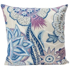 "Schumacher Zanzibar Art Deco Floral Hyacinth Purple Two-Sided 18"" Linen Pillow"