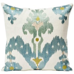 "Schumacher Raja Embroidery Asian Ikat-Inspired Sky Blue Two-Sided 18"" Pillow"
