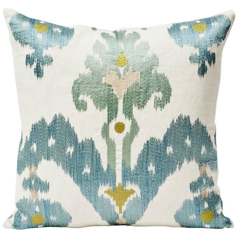 """Schumacher Raja Embroidery Asian Ikat-Inspired Sky Blue Two-Sided 18"""" Pillow For Sale"""
