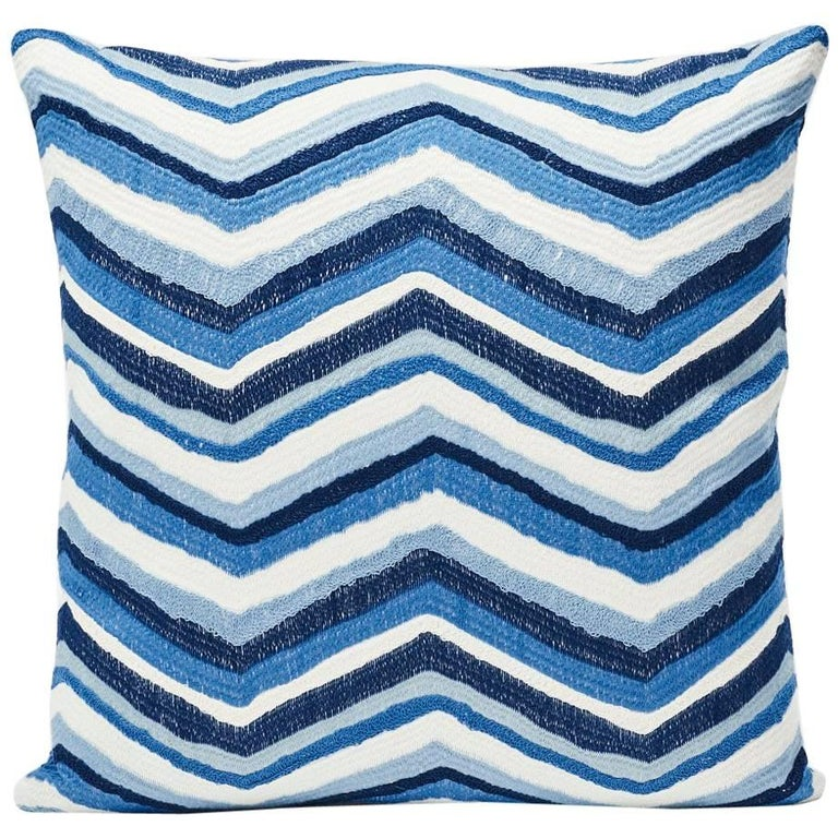 "Schumacher Shasta Embroidery Chevron Striped Blue Two-Sided 18"" Pillow For Sale"