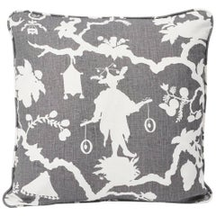 "Schumacher Shantung Silhouette Chinoiserie Smoke Gray Two-Sided 18"" Linen Pillow"