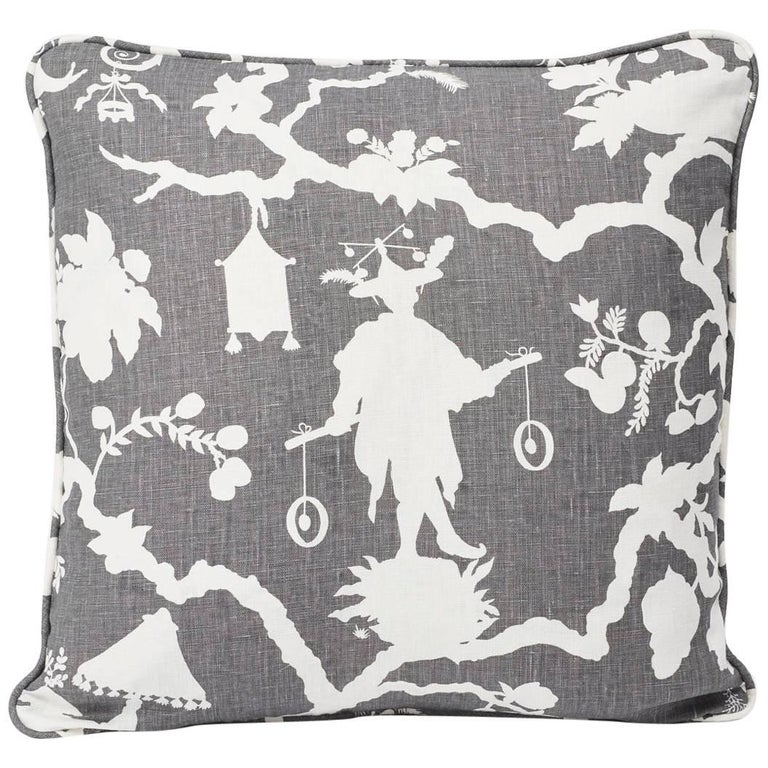 """Schumacher Shantung Silhouette Chinoiserie Smoke Gray Two-Sided 18"""" Linen Pillow For Sale"""