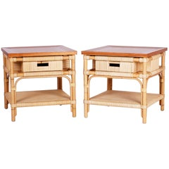 Pair of Modern Bamboo and Reed Tables