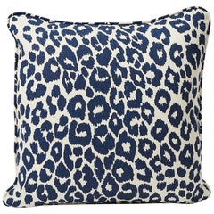 "Schumacher Iconic Leopard Animal Print Ink Blue Two-Sided 18"" Linen Pillow"