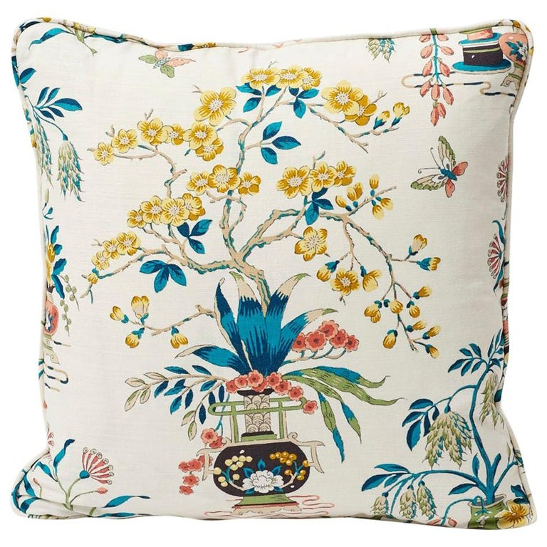 Schumacher Ming Vase Traditional Motif Multi-Color Two-Sided Pillow For Sale