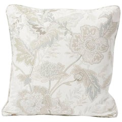 "Schumacher Sandoway Vine French Floral Motif White Two-Sided 18"" Linen Pillow"