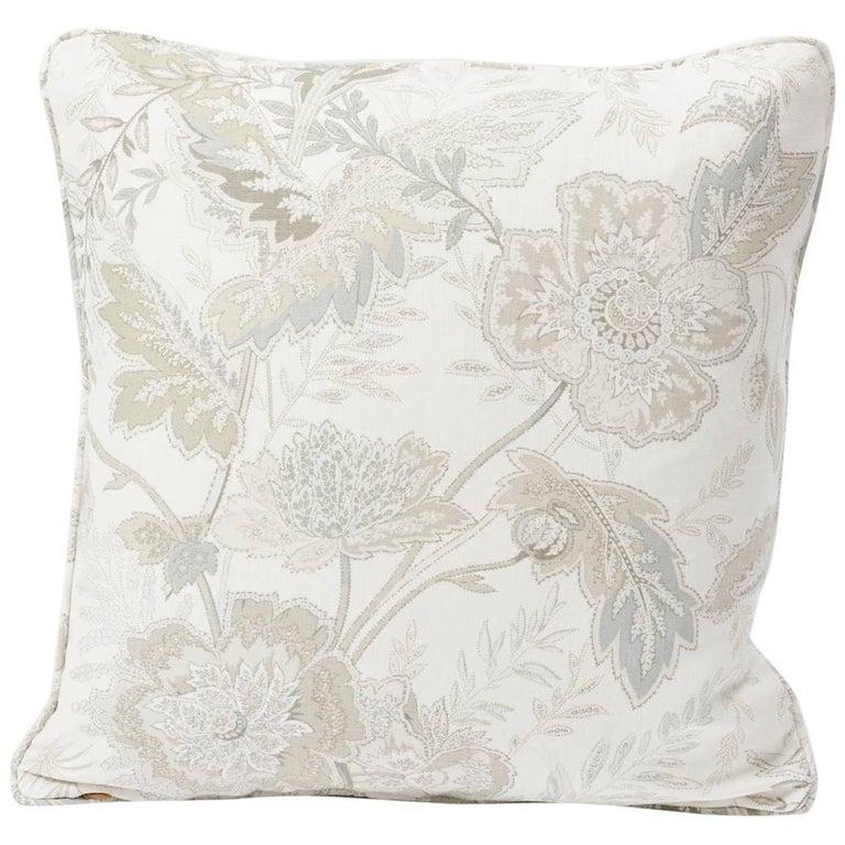 "Schumacher Sandoway Vine French Floral Motif White Linen Two-Sided 18"" Pillow"