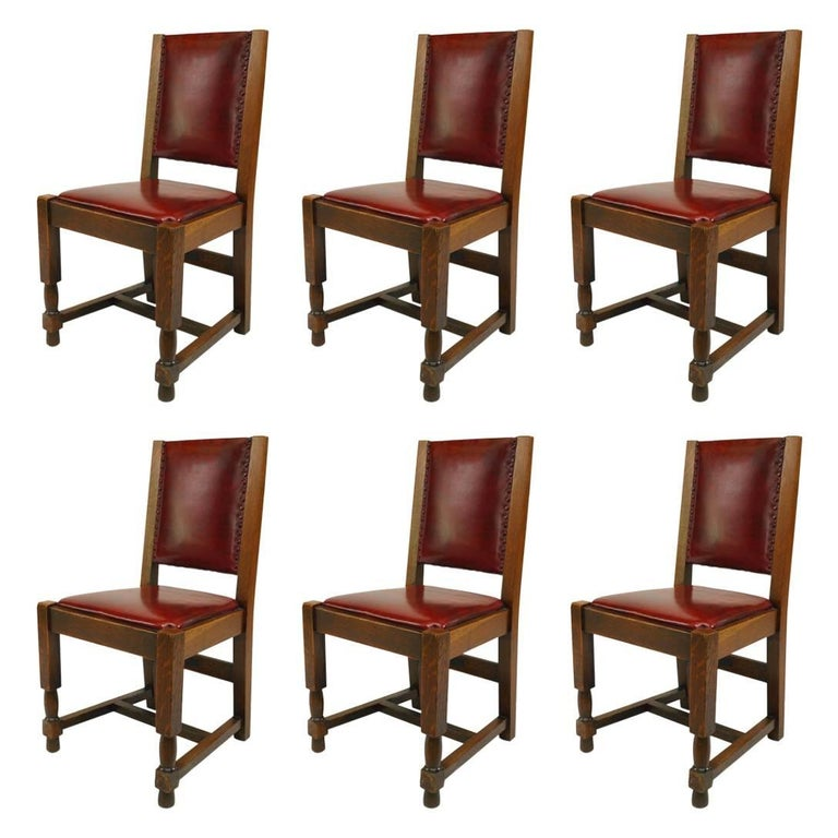 Set of Six American Mission Oak Side Chairs with Red Leather Seat and Back