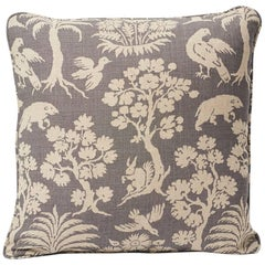"Schumacher Woodland Silhouette 20th Century Two-Sided 18"" Slubbed Linen Pillow"