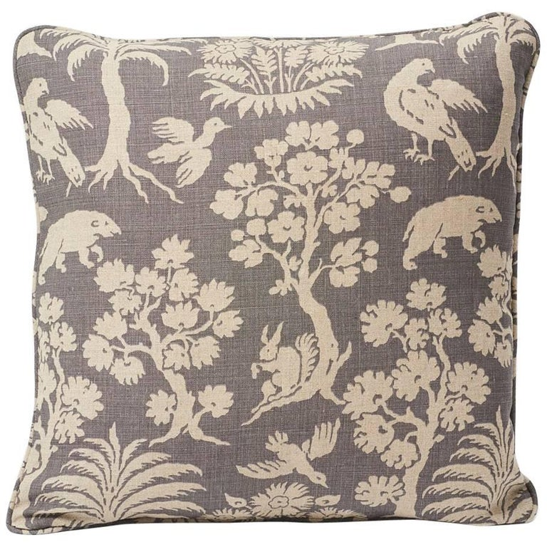 """Schumacher Woodland Silhouette 20th Century Two-Sided 18"""" Slubbed Linen Pillow For Sale"""