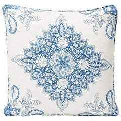 "Schumacher Montecito Medallion Large-Scale Indigo Two-Sided 18"" Linen Pillow"