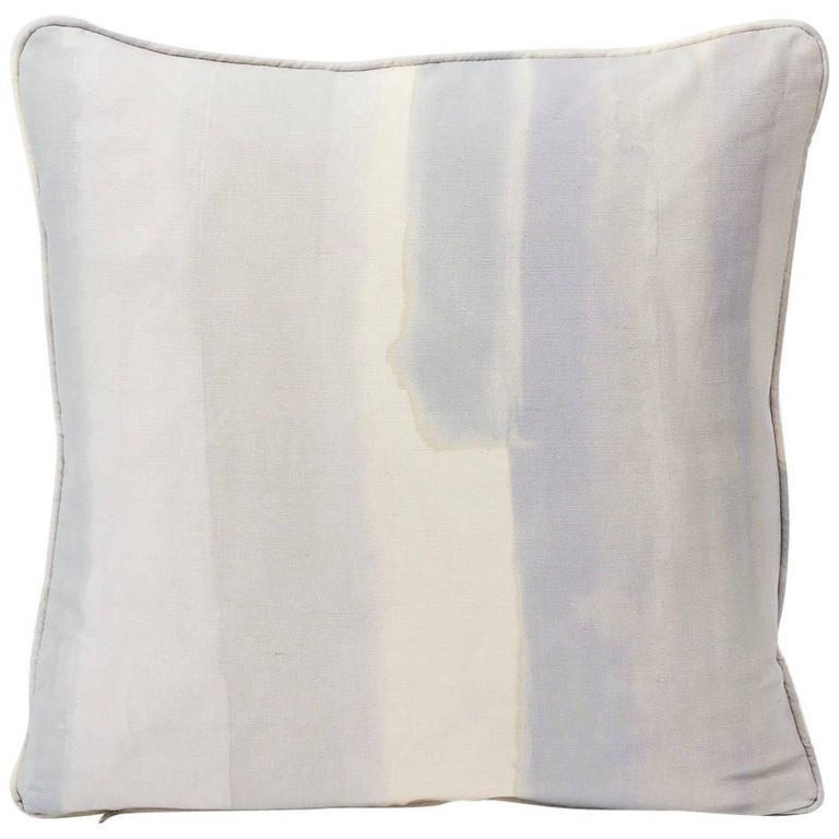 """Schumacher Miles Redd Watercolor Soft Lilac Two-Sided 18"""" Linen Cotton Pillow For Sale"""