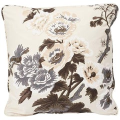 "Schumacher Pyne Hollyhock Floral Chintz Charcoal Two-Sided 18"" Cotton Pillow"