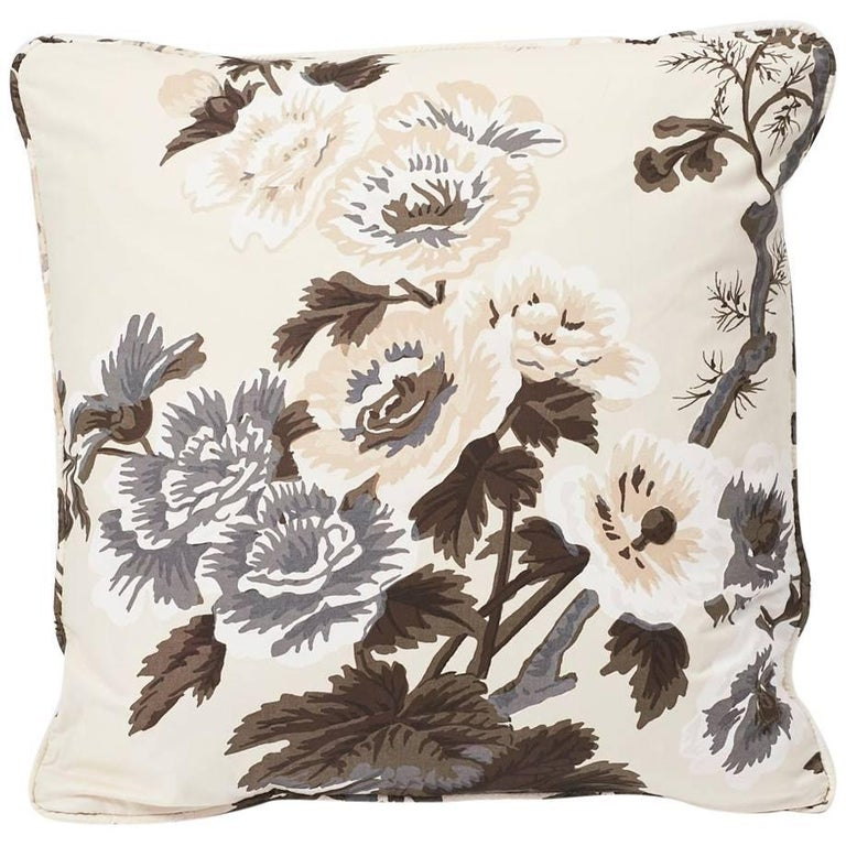 "Schumacher Pyne Hollyhock Floral Chintz Charcoal Two-Sided 18"" Cotton Pillow For Sale"