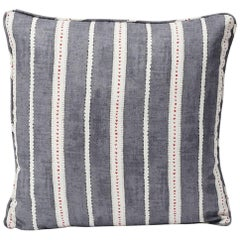 "Schumacher Amour Stripe Charcoal White Linen Two-Sided 18"" Pillow"