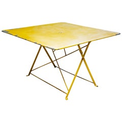 Unusual, Large Square Yellow Painted Iron Folding GardenTable
